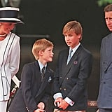 In August 1995, Will and Harry stood between their parents for the commemorations of VJ Day.
