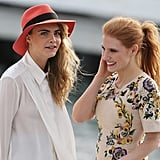 Cara Delevingne and Jessica Chastain shared a cute moment on the set of Canal Plus, a French TV channel.