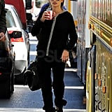 Penelope Cruz sipped on a hot beverage.