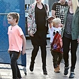 Gwen Stefani's baby bump was front and center when she and husband Gavin Rossdale took their sons, Kingston and Zuma, to the Cirque du Soleil Totem show in LA on Sunday.