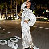 Halima Aden at Miami Swim Week in an Off-White Dress and Malone Souliers Shoes