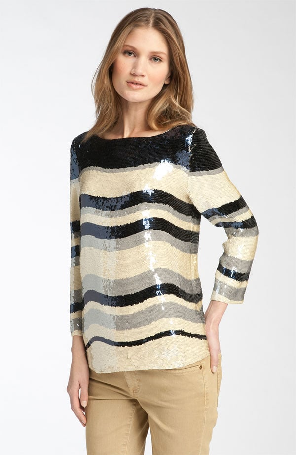 Tory Burch's zigzag prints have a decidedly art-deco feel — and would look great with a pair of jeans.  Tory Burch Jill Stripe Sequin Top ($695)