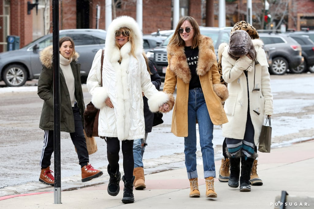 """When it comes to mother-daughter duos, Kate Hudson and Goldie Hawn take the cake for most fun pair. On Tuesday, Melanie Griffith and her daughter, Dakota Johnson, were spotted spreading the holiday cheer with Kate and Goldie in Aspen, CO. That night, Melanie took to Instagram to share a supercute photo from their trip, which shows Kate cuddling up to Melanie while Dakota cozies up to Goldie, happily captioning it, """"Goldie, Dakota, Kate and me having some giggles in Aspen! Mother-Daughter times are the best!!!"""" Talk about mother-daughter goals! Kate also posted a snap from her winter getaway, featuring pals Erin Foster, Jamie Schneider, Emily Ward, and Jennifer Meyer, as well as Dakota.  Kate has been spending a lot of time with her family lately. Just last month, Kate celebrated her mom's 70th birthday, and shortly after, she spent the Thanksgiving weekend relaxing in lounge chairs with her brothers. Read on to see more photos from the group's vacation, and then check out how the rest of Hollywood is celebrating the holiday season.   Tall"""