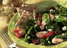 Today's Special: Spinach-Shrimp Salad with Hot Bacon Dressing