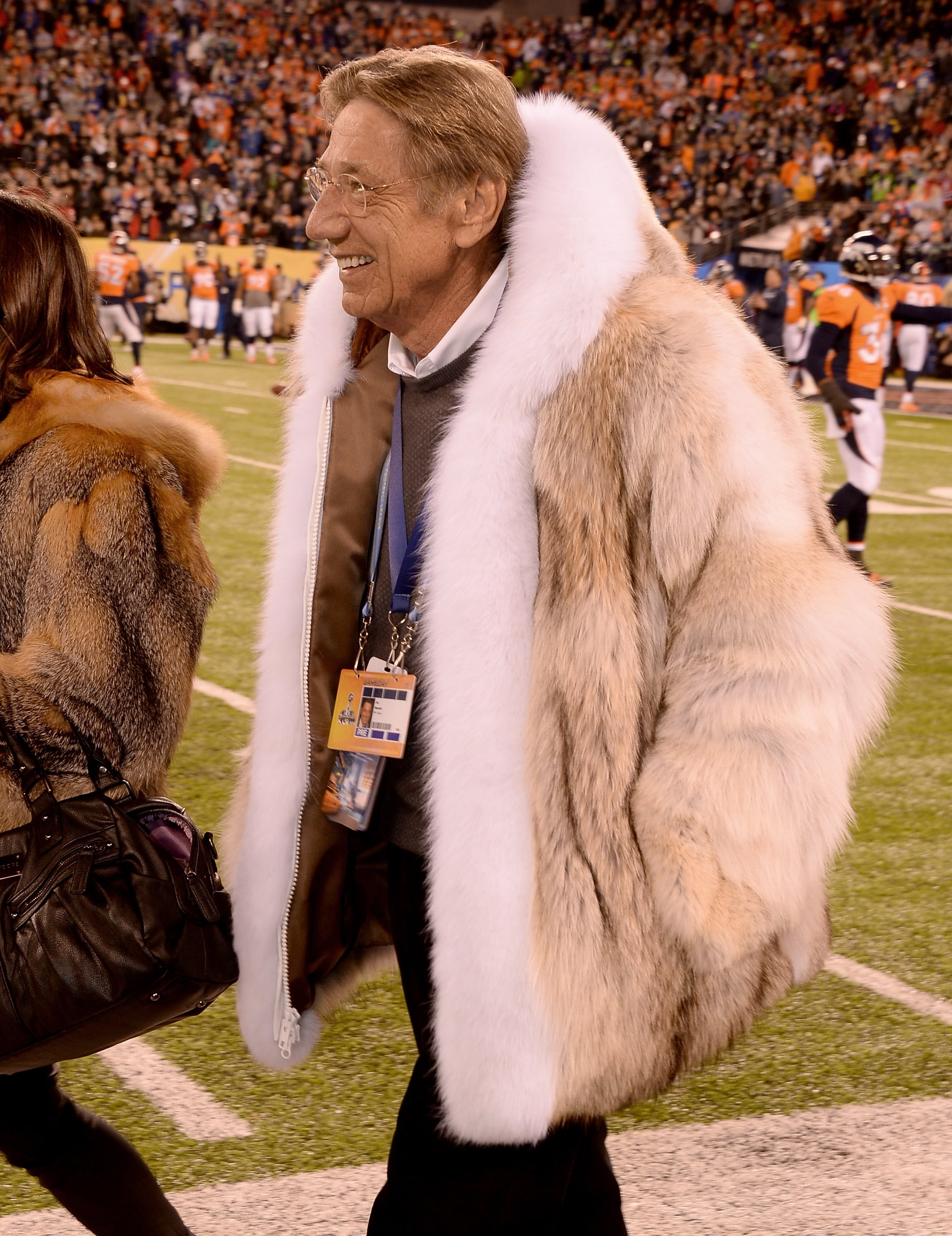 Joe Namath's Fur Coat at Super Bowl 2014 | POPSUGAR Fashion