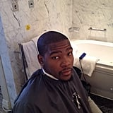 Kevin Durant got a hair cut prior to a game. Source: Instagram user trey5