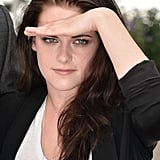 Kristen Stewart blocked the sun from her eyes at the On the Road photocall at the Cannes Film Festival.