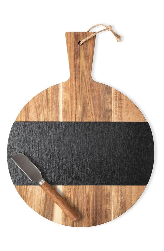 Monogram Slate & Acacia Wood Serving Board & Cheese Knife