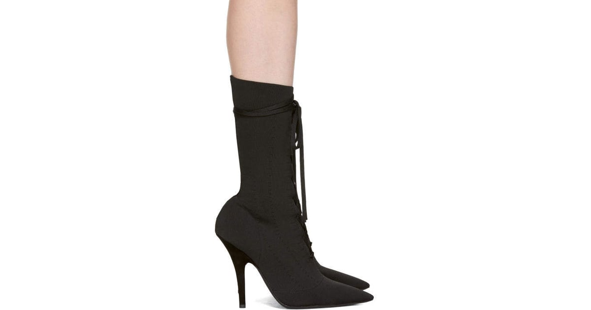 817285559f8 Yeezy Black Knit Lace-Up Ankle Boots