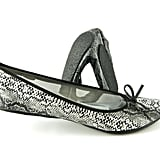 We love the slick snakeskin-embossed texture and black bow detail. Fit in Clouds Black Diamond Snakeskin Flats ($25)
