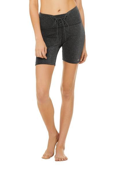 High Waist Lace Up Glitter Shorts
