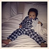 Moroccan Cannon looked pretty comfortable resting in his parents' bed. Source: Instagram user mariahcarey