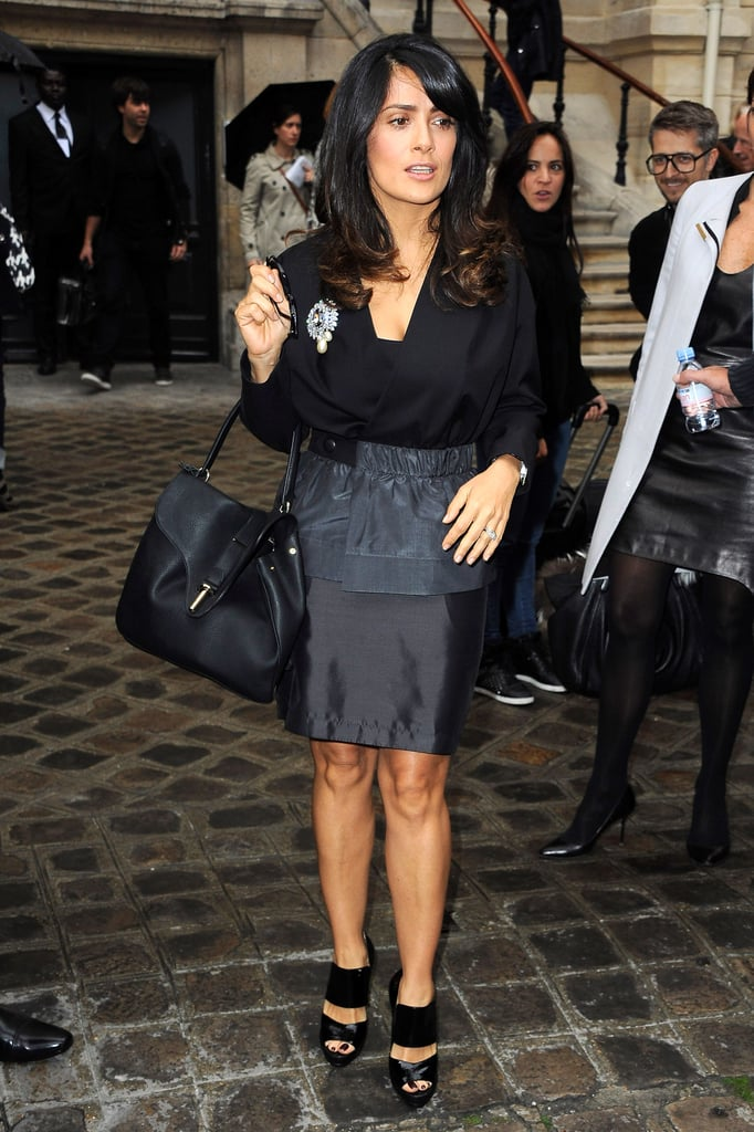 Salma Hayek made a trip to see the Balenciaga show.