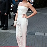 Cameron wore head to toe Stella McCartney including those nude satin heels.