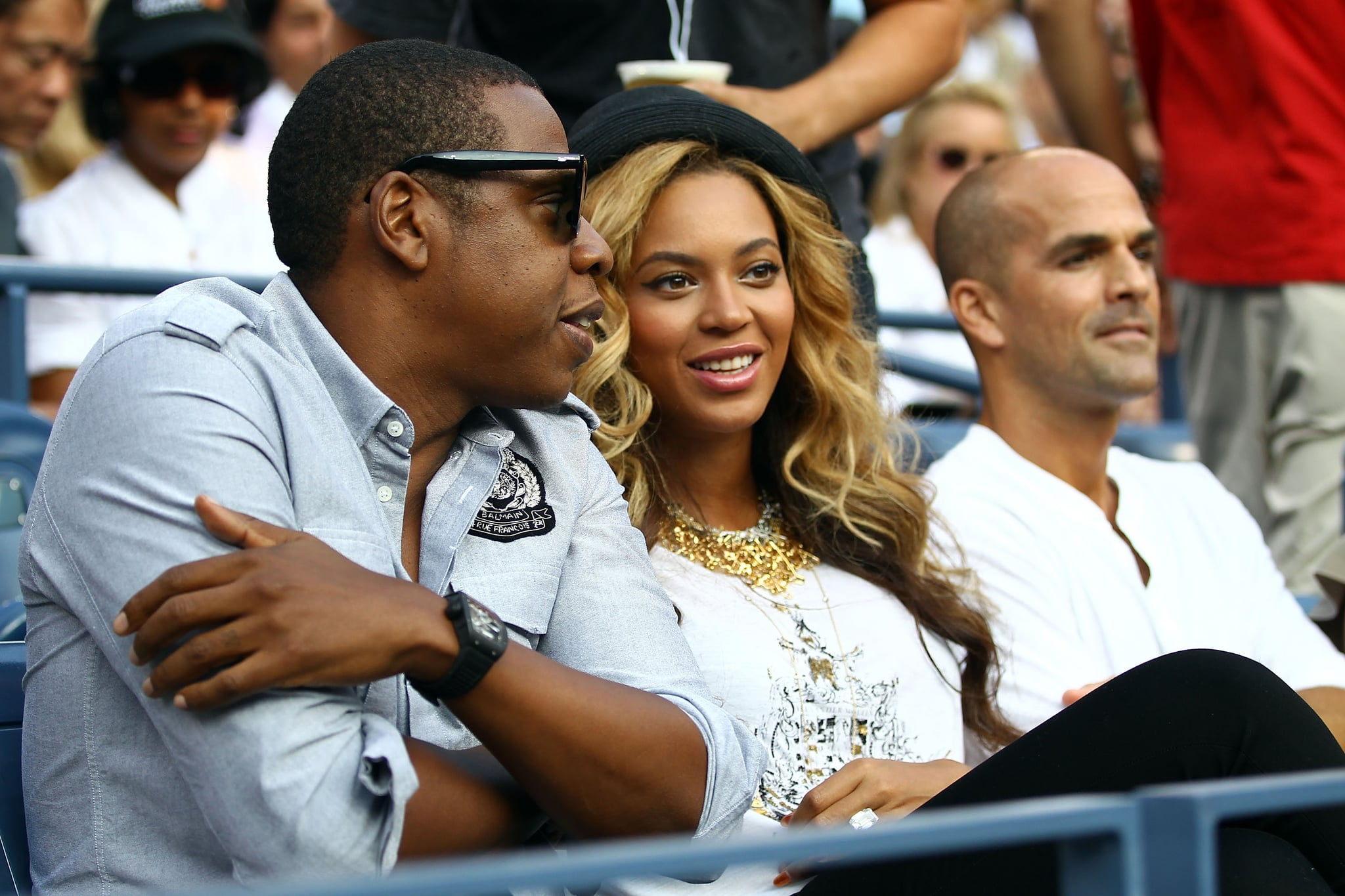 Jay-Z and Beyoncé Knowles in the stands yesterday to check out the action at the US Open in Queens.