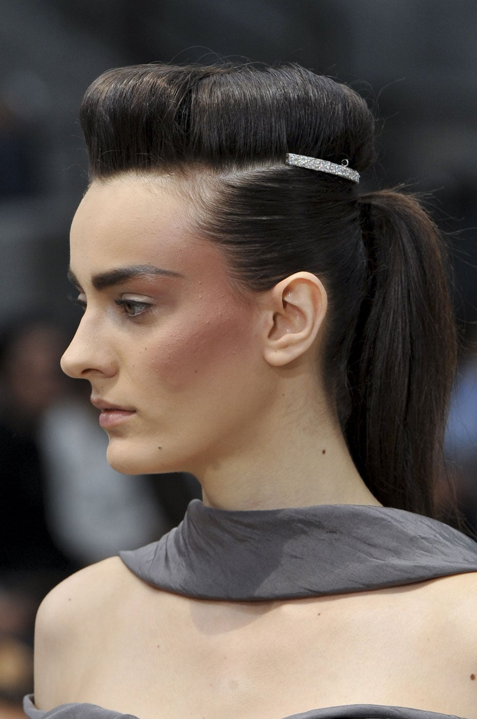 The Hair At Chanel Was A Pompadour And Ponytail Combination That Was Check Out All The Hair And Makeup Looks From The Haute Couture Runways Popsugar Beauty Photo 26