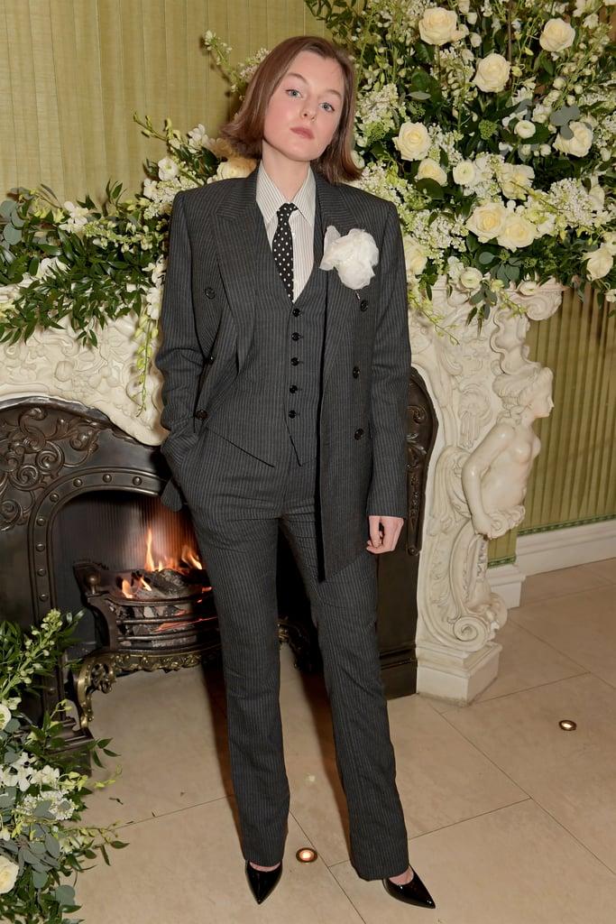 Emma Corrin Wears a Gray Celine Suit