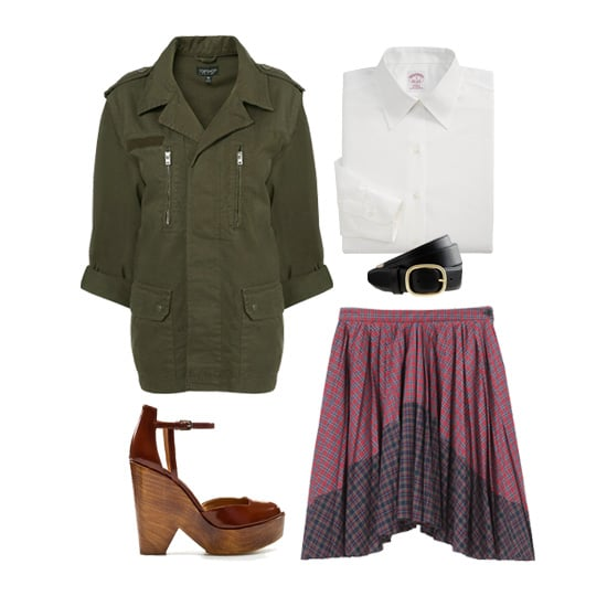 Take a couple preppy staples — like a white collared button-down and plaid skirt — and give them a cool military vibe with a dark green jacket. Here's a styling trick: tuck the blouse in, leave the jacket unbuttoned, then cinch the look with a black leather belt. It will look laid-back and unfussy while giving a nod to Fall's utilitarian trend. Get the look:  Topshop Khaki Army Jacket ($96) Brooks Brothers Petite Non-Iron Classic Fit Shirt ($60) J.Crew Vachetta Belt ($58) Boy. by Band of Outsiders Plaid Pleated Skirt ($555) Zara Antik Leather Wooden Wedge ($90)