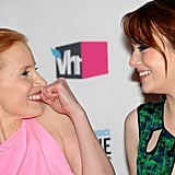 Jessica Chastain and Emma Stone celebrate after winning the best acting ensemble award for The Help.