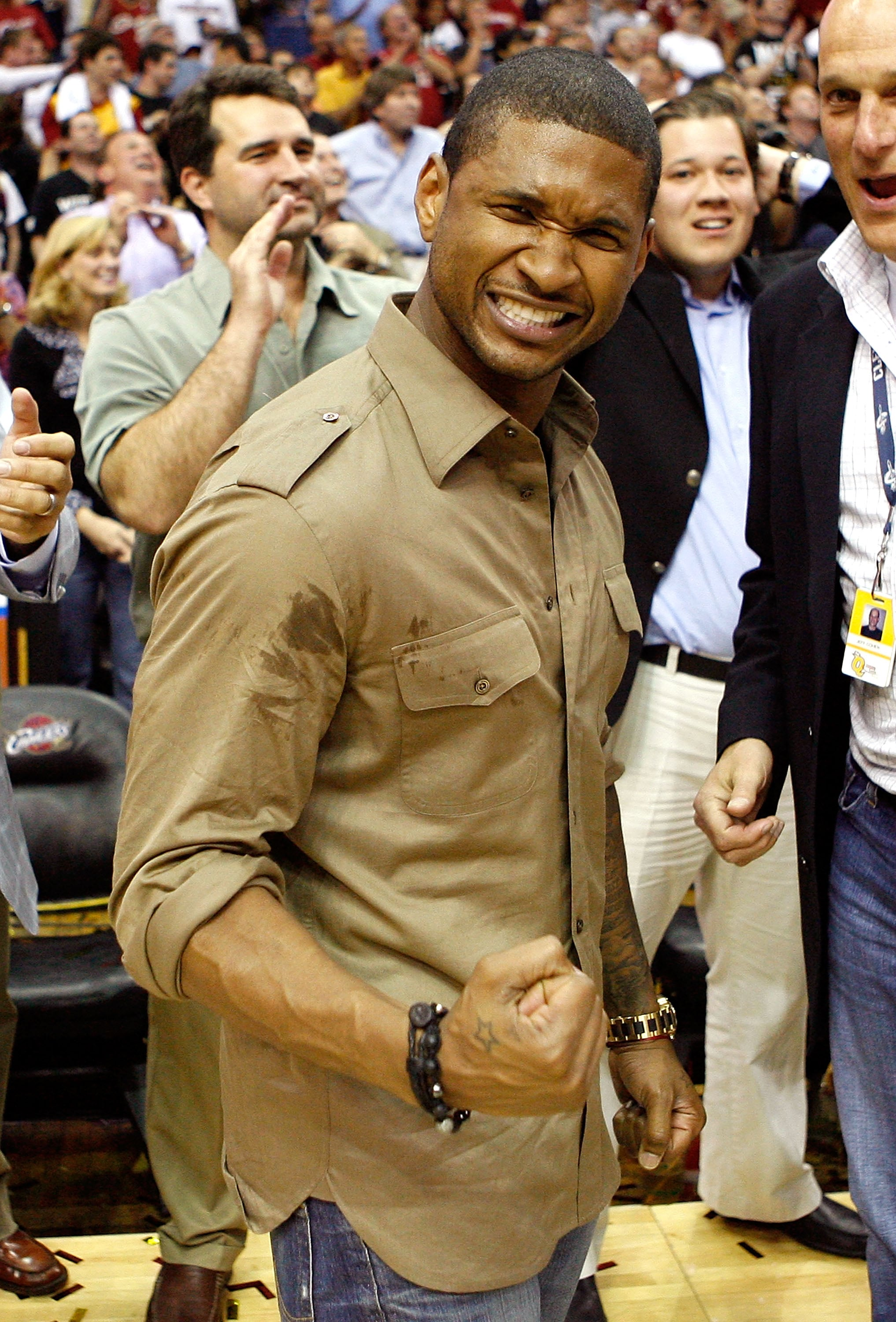 Usher celebrated as the Cleveland Cavaliers defeated the Orlando Magic during the NBA playoffs in May 2009.