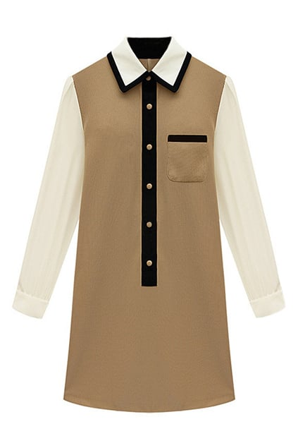 Romwe Color Block Khaki Dress