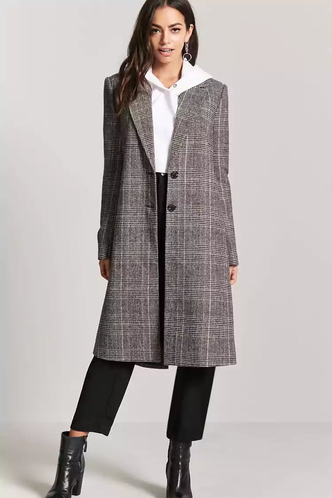 Forever 21 Longline Plaid Coat