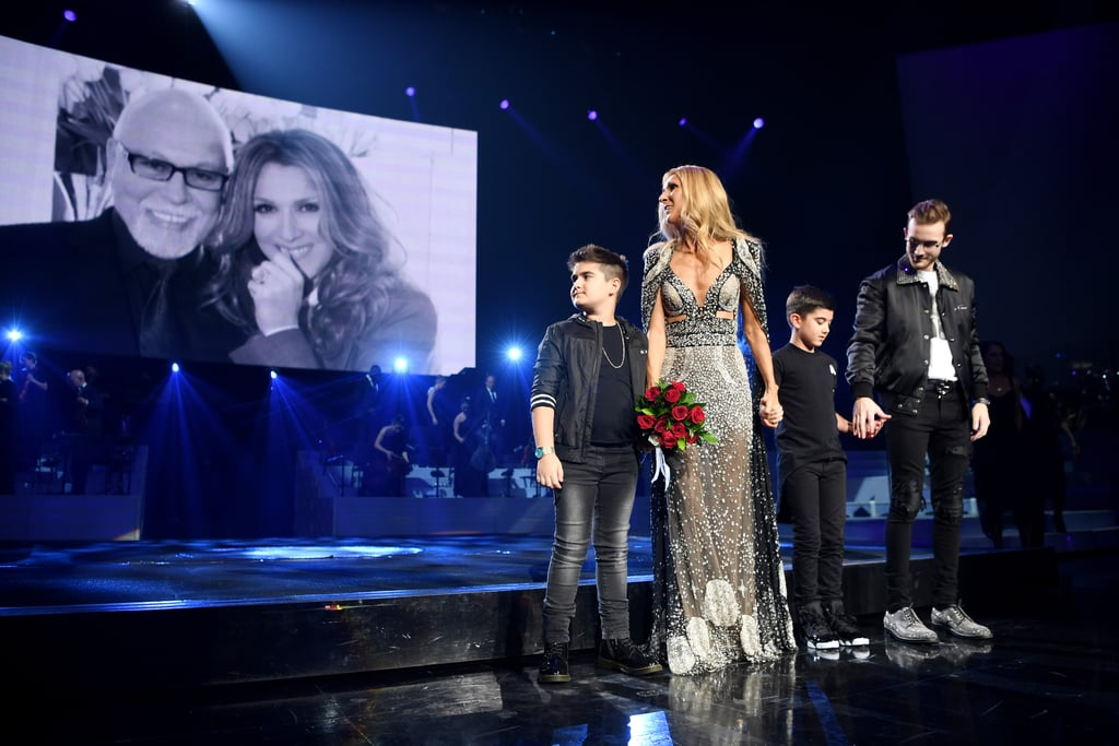 "After 16 years and 1,141 shows, Celine Dion's Las Vegas residency has come to an end. On Saturday, the legendary 51-year-old singer performed her last concert at Caesars Palace's Colosseum, and it was emotional, to say the least. In addition to debuting her new song ""Flying on My Own,"" Celine paid tribute to her late husband, René Angélil. While singing a cover of ""Somewhere Over the Rainbow,"" a photo of her and René was shown on the screen and her three sons — René-Charles, 18, and twins Nelson and Eddy, 8 — then got up on stage with her. ""I'm both proud and humbled by what we've accomplished at the Colosseum since we began 16 years ago when René and I first shared this dream. This entire experience has been a huge part of my show business career, one that I will cherish forever,"" she said. ""I have so many people to thank, but the most important 'thank you' goes to my fans, who gave us the opportunity to do what we love."" Celine first met René in 1980 when she was 12 and he was 38. The Canadian music producer served as her mentor and manager for seven years before their relationship turned romantic. They eventually got married in December 1994 and later became parents to their three beautiful sons. Sadly, René's life was cut short in January 2016 when he lost his courageous battle with cancer, but his memory lives on in the hearts of his family.      Related:                                                                                                           Celine Dion Is Aging Backward, and That's the Way It Is"