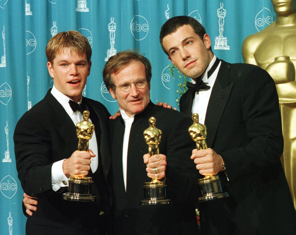 After his Oscar win, Robin posed in the press room with fellow winners Ben Affleck and Matt Damon, whom he worked with in Good Will Hunting.