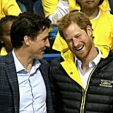 Prince Harry and Canadian Prime Minister Justin Trudeau were all smiles during a Toronto hockey match in May.