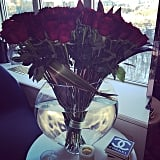 "Lady Gaga shared a picture of the flowers Taylor gave her on Valentine's Day, writing, ""Nothing like flowers from the man of your dreams."""