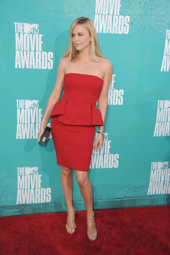Charlize Theron wore red at the MTV Movie Awards.
