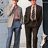 Ryan Gosling chatted with Josh Brolin on the Gangster Squad set in LA.