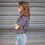 A Plaid Button-Front Shirt, Jeans, and a Brown Belt