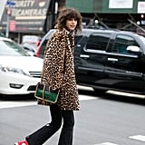 Style Your Leopard-Print Coat With: Black Jeans, Sneakers, and a Colored Bag