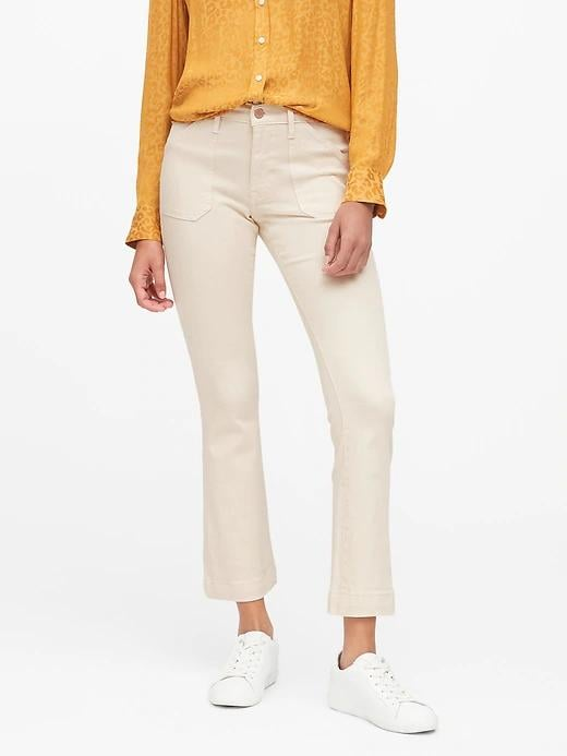 Mid-Rise Crop Flare Utility Jeans