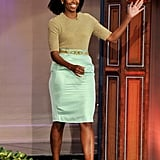 Wearing a J.Crew skirt and Michael Kors top for the Tonight Show With Jay Leno in 2012.