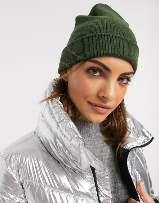 ASOS Design Recycled Polyester Deep Turn Up Beanie