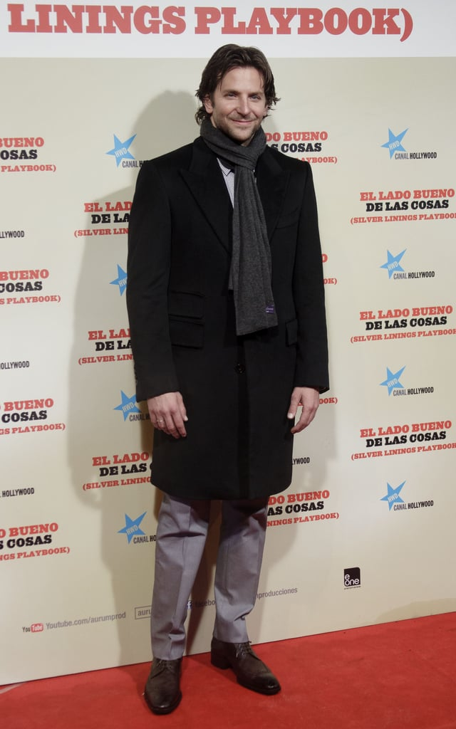 Bradley Cooper posed at the Madrid premiere of Silver Linings Playbook.