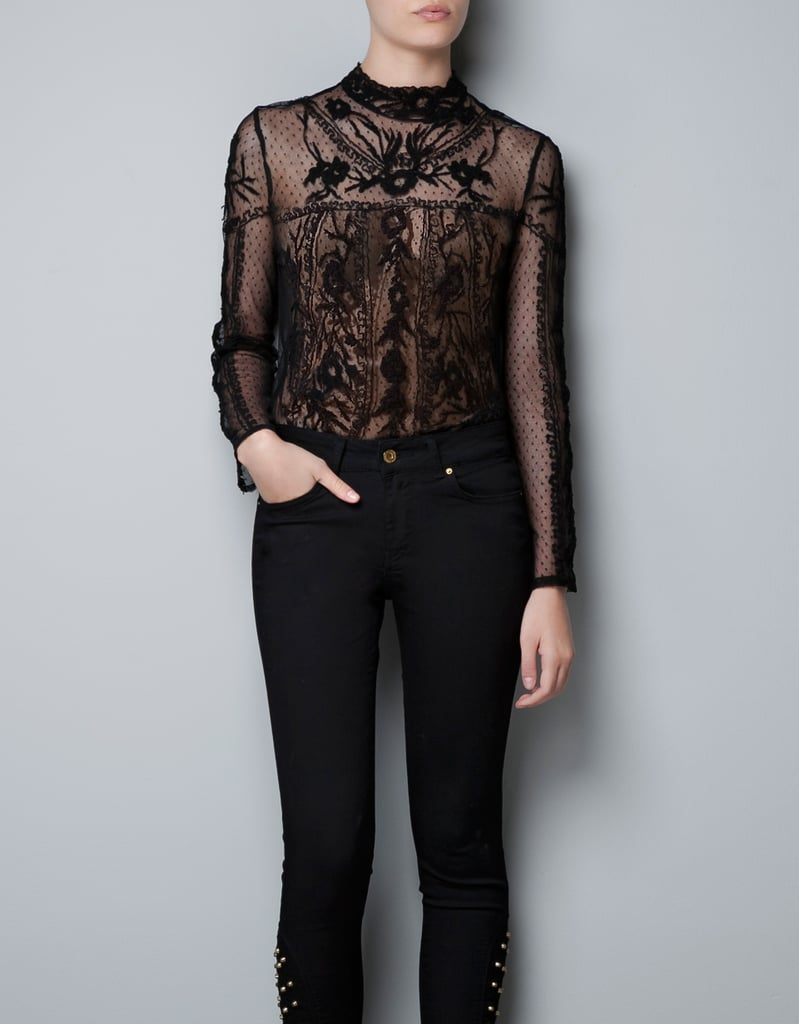 Go dramatic for an evening out with this gorgeous embroidered blouse. Zara Embroidered Flower Top ($80)
