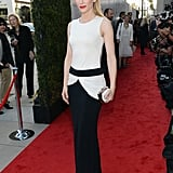 Cate Blanchett was a standout on the Blue Jasmine red carpet in her contoured black-and-white Alexander McQueen column and Roger Vivier clutch.