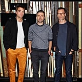 Robert Pattinson posed at a photocall for The Rover with director David Michod and costar Guy Pearce in Sydney on Friday.
