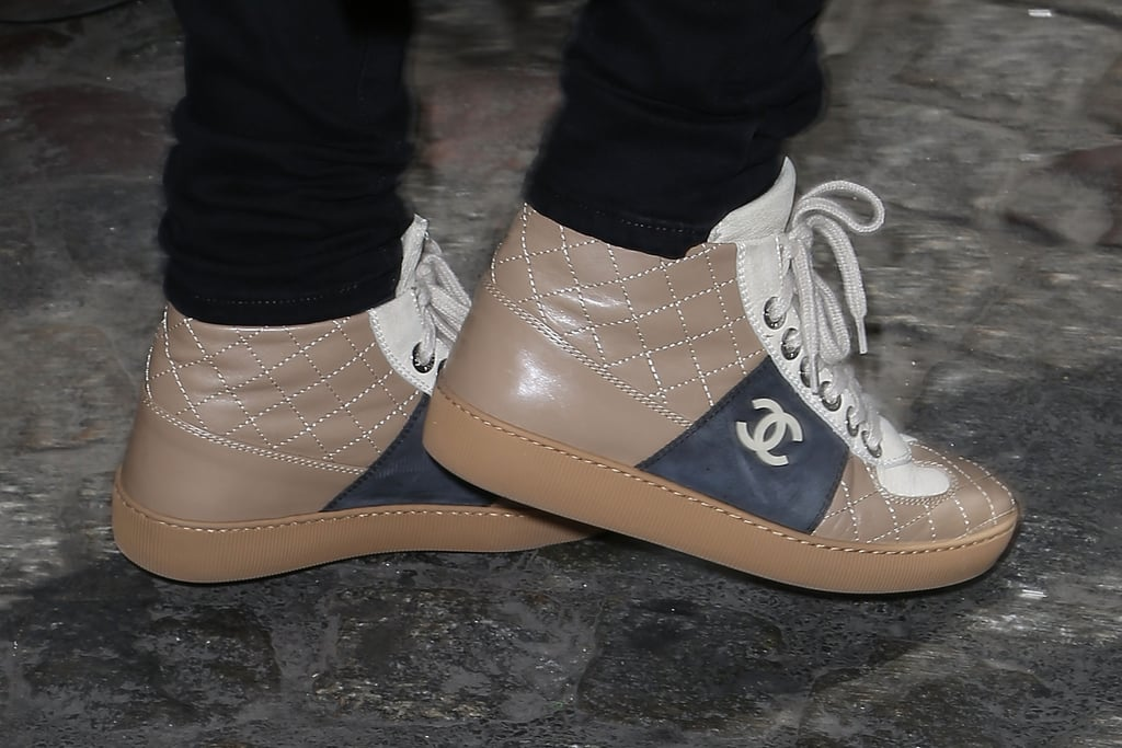 Kylie Minogue Wearing Quilted Chanel Sneakers