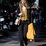 Wear a Polka-Dot Blouse With Black Trousers