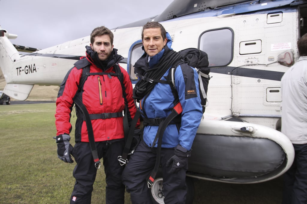 Jake Gyllenhaal is jumping from the silver screen to the small screen for the season premiere of Man vs. Wild, joining Bear Grylls for a two-day adventure in Iceland. These pictures look pretty epic — Gyllenhaal puts his survivor skills to work while hiking amid volcanoes and glaciers. The episode premieres on July 11, and I'll definitely be tuning in to see how Gyllenhaal manages in the wild. In the meantime, check out these sneak-peek pictures.