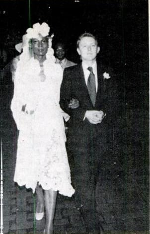 Aug 1973: Leaving the church following her wedding ceremony