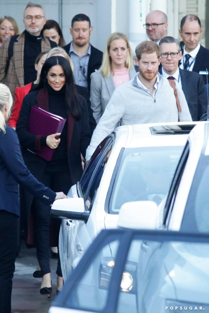 Once again, Meghan Markle proves that her style is simply perfect. On Oct. 14, the Duchess of Sussex touched down in Australia with husband Prince Harry, and despite a 22-hour flight, she was dressed to impress.  After wowing us with her Givenchy coat for Princess Eugenie's wedding, Meghan opted for another chic jacket as she left the airport, but this time it's black with maroon trim. It's actually the same coat she was seeing wearing in her Invictus Games promo photo — a perfect complement to the purple folders she carried. She kept things monochrome and classic underneath, choosing a black turtleneck with matching wool trousers and her Sarah Flint pumps. Ahead, see more snaps of Meghan's sophisticated Sydney look. We can't wait to see what other outfits she chooses on her first royal tour with Harry, as it'll also be a first look at her pregnancy style!       Related:                                                                                                           Meghan Markle's Shoe Rotation Is Fit For a Princess