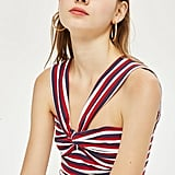 Topshop Stripe Knot Crop Top