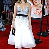 Reese Witherspoon in White Tea-Length Dress at 2005 Just Like Heaven LA Premiere