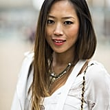 Aimee Song's Winter-white ensemble and sleek strands got an instant shot of life with a swipe of pink lipstick. Source: Le 21ème   Adam Katz Sinding