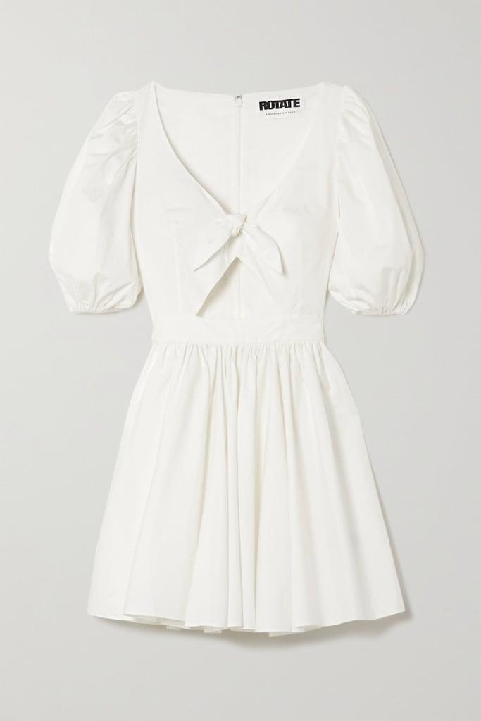 ROTATE Birger Christensen Marie Tie-Front Cutout Organic Cotton-Poplin Mini